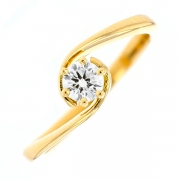 Bague solitaire diamant 0.30 carat en or jaune
