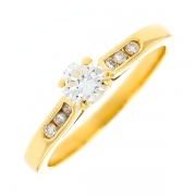 Solitaire diamants 0.40 carat en or jaune