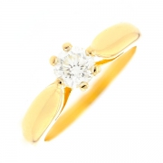 Bague solitaire diamant 0.50 carat en or jaune