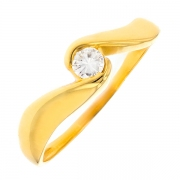 Solitaire diamant 0.17 carat en or jaune