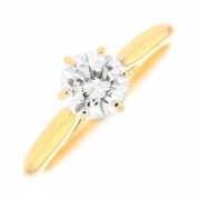 Solitaire diamant 0.75 carat en or jaune