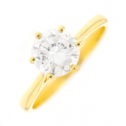 Solitaire diamant 1.30 carat en or jaune