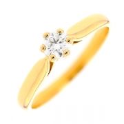 Solitaire diamant 0.26 carat en or jaune