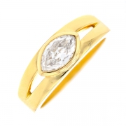 Solitaire diamant 0.51 carat en or jaune