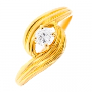 Solitaire diamant 0.16 carat en or jaune