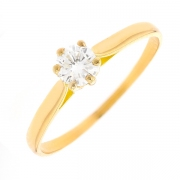 Solitaire diamant 0.33 carat en or jaune
