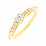 Solitaire diamants 0.18 carat en or jaune
