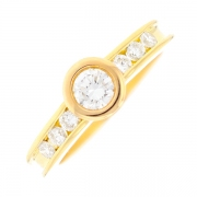 Solitaire diamants 0.98 carat en or jaune