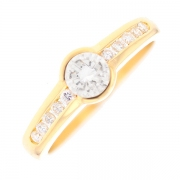 Solitaire diamants 0.70 carat en or jaune