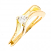 Solitaire diamant 0.18 carat en or jaune