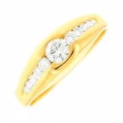 Solitaire diamants 0.37 carat en or jaune