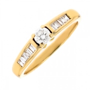 Solitaire diamants 0.30 carat en or jaune