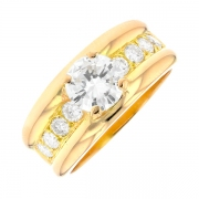 Solitaire diamants 1.48 carat en or jaune