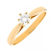 Solitaire diamant 0.38 carat en or jaune