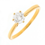 Solitaire diamant 0.65 carat or jaune