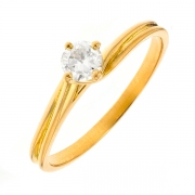 Solitaire diamant 0.30 carat en or jaune