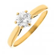 Solitaire diamant 0.70 carat en or jaune