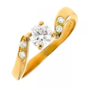Solitaire diamants 0.56 carat en or jaune