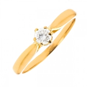 Solitaire diamant 0.20 carat en or jaune