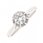 Solitaire diamant 0.55 carat en or blanc