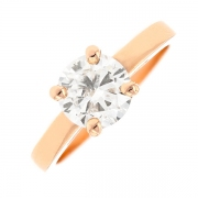 Bague solitaire diamant 1.55 carat en or rose
