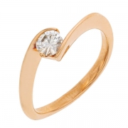 Bague solitaire diamant 0,30 carat en or rose