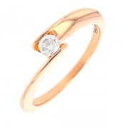 Bague solitaire signée GAREL diamant 0.20 carat en or rose