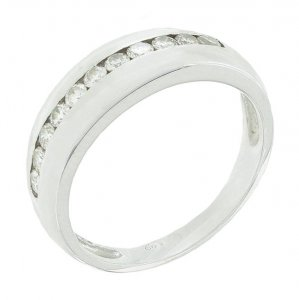 Demi-alliance diamants 0,33 carat en or blanc