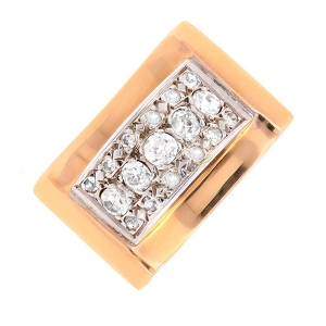 Bague vintage diamants 0.29 carat en or bicolore