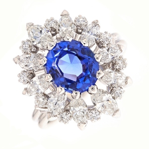 a5e648e9d6014 Bague marguerite saphir 2.50 carats et diamants 2 carats en or blanc