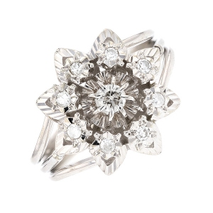 Bague fleur diamants 0.23 carat en or blanc