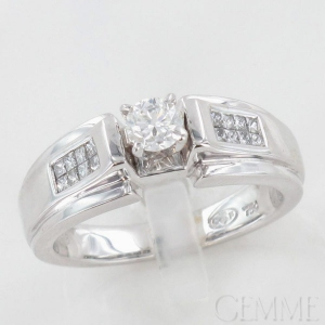Bague solitaire or blanc diamant taille princesse   diamant taille moderne 9a1e424be147