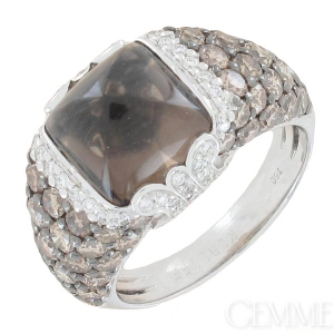 8a146ab39e62c Korloff. bague dôme diamants 2,95 carats et quartz fumé en or blanc.  occasion