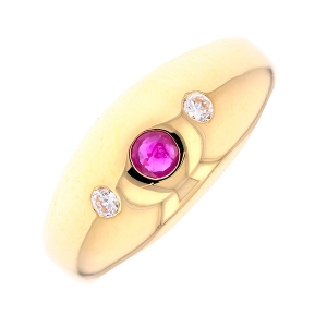 Bague jonc rubis et diamants 0.06 carat en or jaune