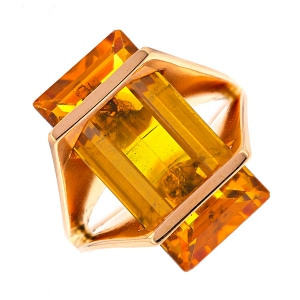 Bague rectangulaire citrine 7.50 carats en or rose