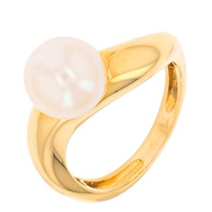 Bague perle de culture blanche en or jaune