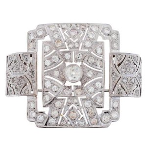 Broche plaque Art déco diamants 3,50 carats en or blanc
