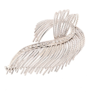 Broche vintage diamants 0.95 carat en or blanc
