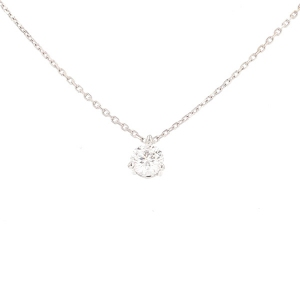 Collier solitaire diamant 0.59 carat en or blanc