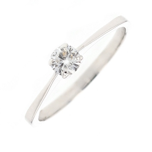 Solitaire diamant 0.15 carat en or blanc