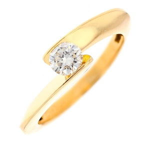 Bague solitaire diamant 0.45 carat en or jaune