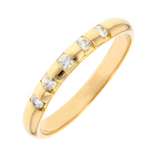 Demi-alliance diamants 0.12 carat en or jaune