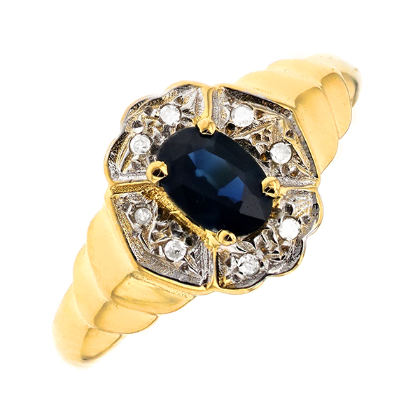 Bague saphir 0.46 carat et diamants 2 ors