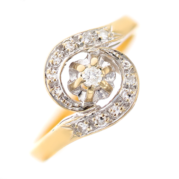 Bague tourbillon diamants 0.20 carat en or bicolore