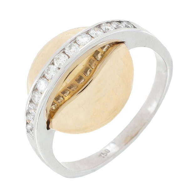 Bague soucoupe diamants 0,13 carat en or jaune et or blanc