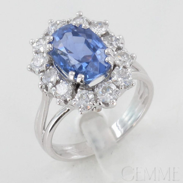 Bague Marguerite Or Blanc, Saphir Ovale, Diamant Taille Moderne & Demi-Taille