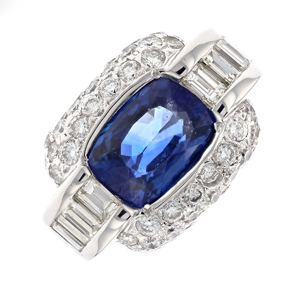 Bague saphir 4.35 carats et diamants 2.3 carats en or blanc