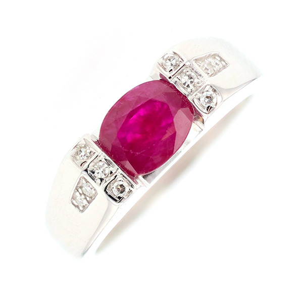 Bague rubis 1.50 carat et diamants 0.05 carat en or blanc