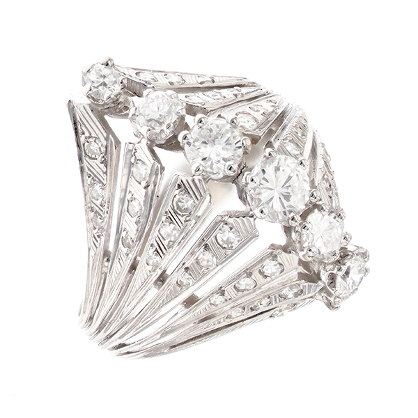 Bague diamants 0.78 carat en platine et or blanc