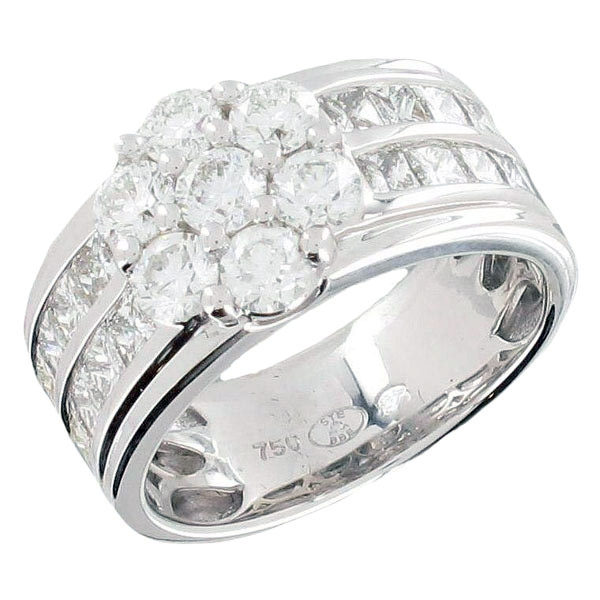 Bague Or Blanc Diamants, Diamants Taille Princesse